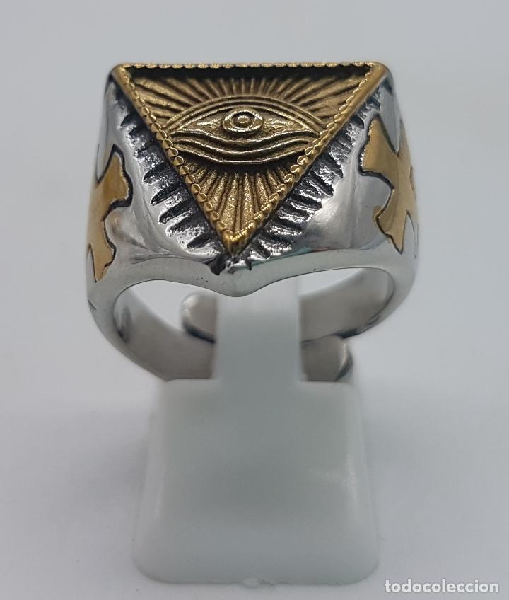 Joyeria: Precioso anillo en acero inoxidable de estilo masónico con ojo de la providencia. - Foto 4 - 127621463