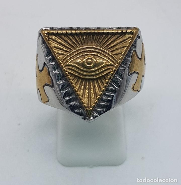 Joyeria: Precioso anillo en acero inoxidable de estilo masónico con ojo de la providencia. - Foto 5 - 127621463