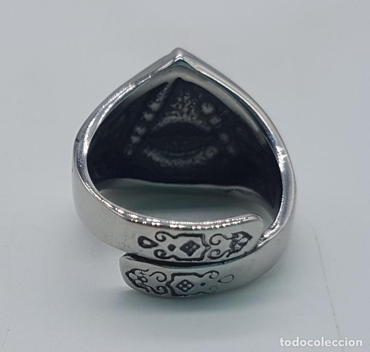 Joyeria: Precioso anillo en acero inoxidable de estilo masónico con ojo de la providencia. - Foto 6 - 127621463