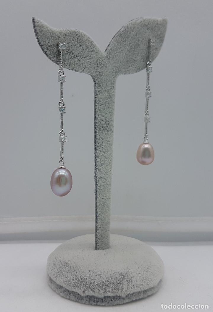 Joyeria: Elegantes pendientes largos en plata de ley contrastada con perla malva y circonitas. - Foto 4 - 127642355