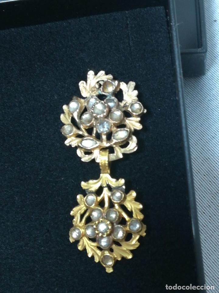 Joyeria: Par de pendientes dobles de oro de ley de estilo Isabelino - Foto 2 - 127761899