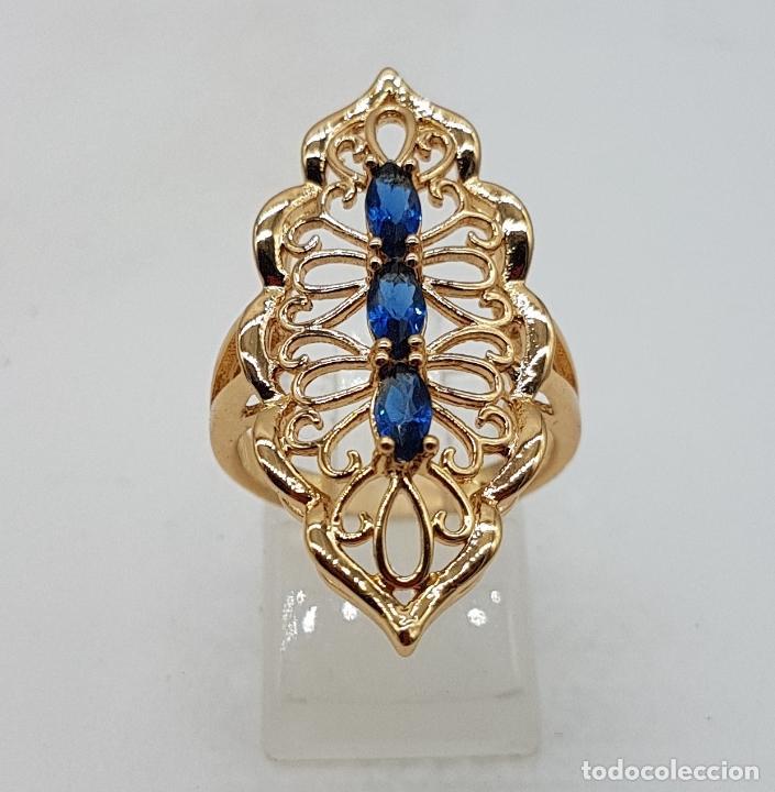 Joyeria: Espectacular gran anillo tipo lanzadera de diseño calado chapado en oro de 18 quilates. - Foto 4 - 127882471