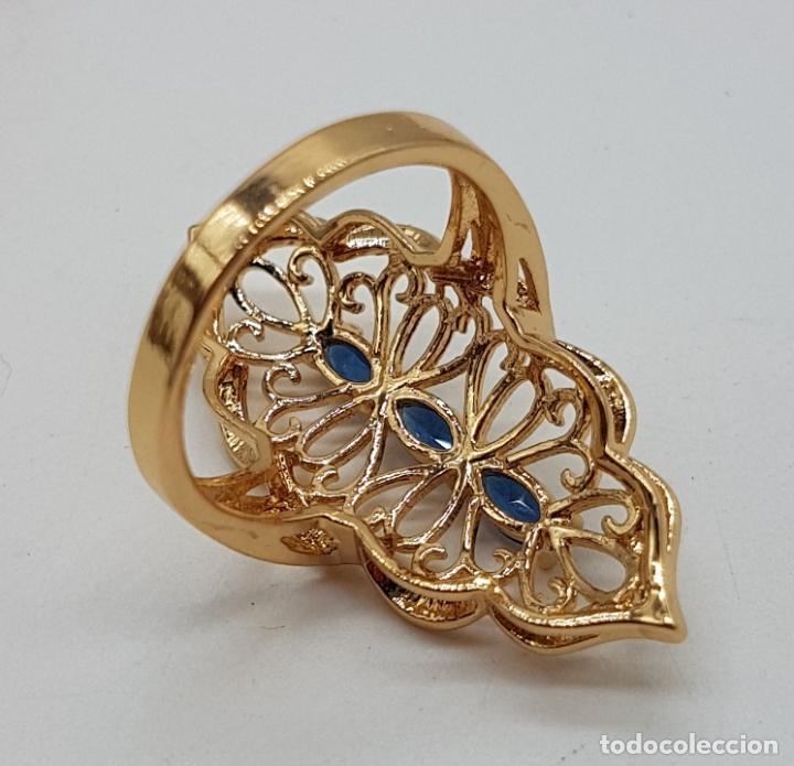 Joyeria: Espectacular gran anillo tipo lanzadera de diseño calado chapado en oro de 18 quilates. - Foto 5 - 127882471
