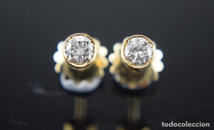 Joyeria: LIQUIDACIÓN, pendientes Dormilonas de diamantes 0,83ct SI-H en oro 18K - Foto 7 - 128031403