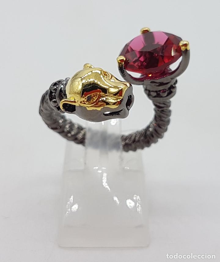 Joyeria: Sofisticado anillo en plata de ley, platinado en negro y oro de 18k, con turmalina talla diamante . - Foto 3 - 128133891