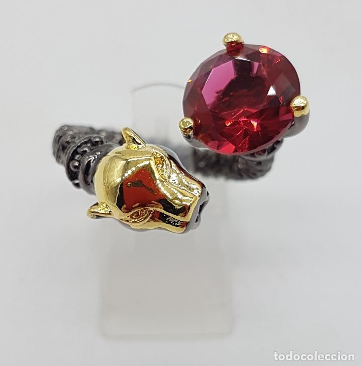 Joyeria: Sofisticado anillo en plata de ley, platinado en negro y oro de 18k, con turmalina talla diamante . - Foto 5 - 128133891