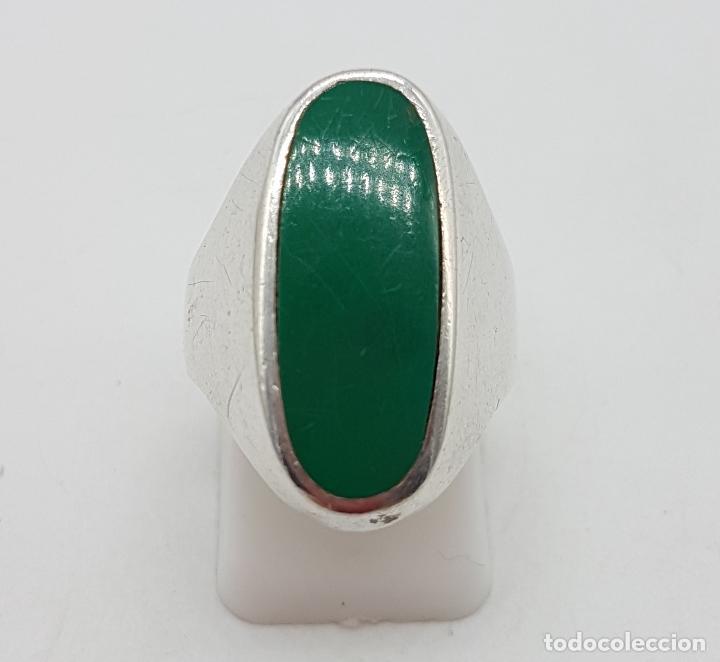 Joyeria: Anillo antiguo en plata de ley con aplicación en color verde malaquita . - Foto 2 - 128137987