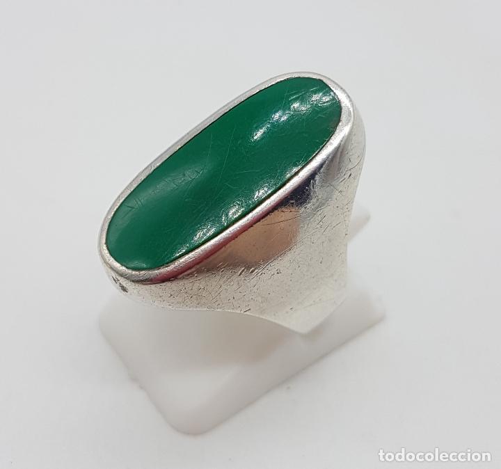 Joyeria: Anillo antiguo en plata de ley con aplicación en color verde malaquita . - Foto 3 - 128137987