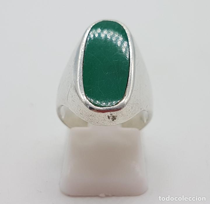 Joyeria: Anillo antiguo en plata de ley con aplicación en color verde malaquita . - Foto 4 - 128137987