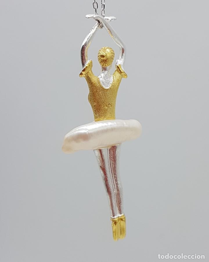 Joyeria: Espectacular colgante de bailarina de ballet en plata de ley, oro de 18k y perla barroca autentica . - Foto 5 - 128141943