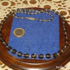 Joyeria: COLLAR DE CRISTAL GRIS TRASPARENTE FACETADO,AÑOS 70.. Lote 128163735