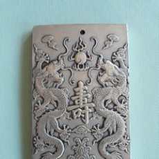 Joyeria: PRECIOSO Y ANTIGUO LINGOTE DE PLATA TIBETANA CON DRAGONES. Lote 155506176