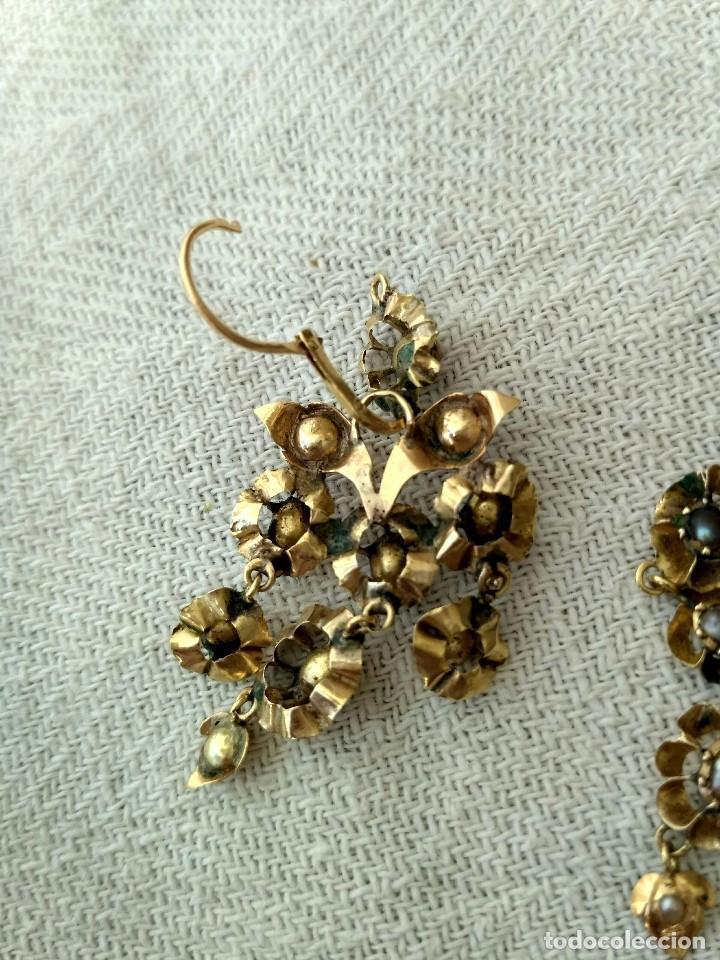 Joyeria: Antiguos pendientes de oro y aljófares. Segunda mitad del siglo XIX. Isabelinos - Foto 2 - 128786575