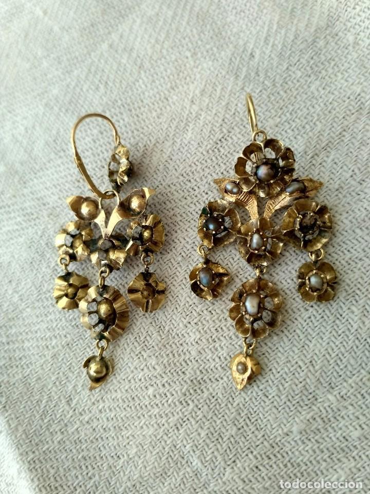 Joyeria: Antiguos pendientes de oro y aljófares. Segunda mitad del siglo XIX. Isabelinos - Foto 3 - 128786575