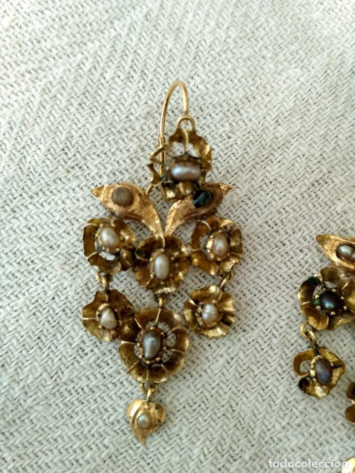 Joyeria: Antiguos pendientes de oro y aljófares. Segunda mitad del siglo XIX. Isabelinos - Foto 4 - 128786575