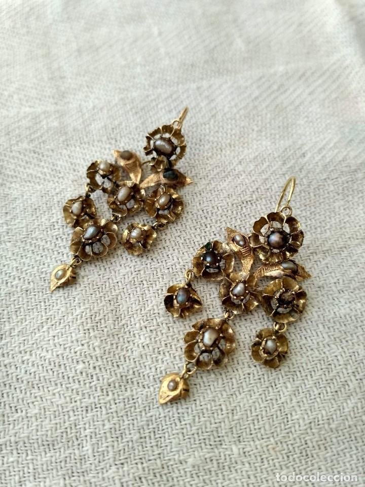 Joyeria: Antiguos pendientes de oro y aljófares. Segunda mitad del siglo XIX. Isabelinos - Foto 5 - 128786575