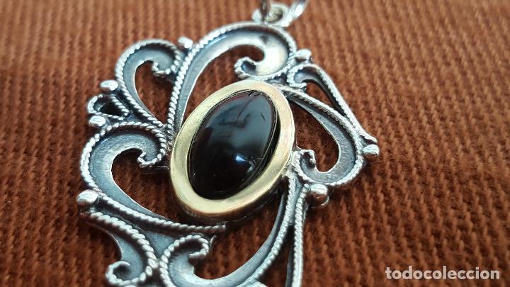 Joyeria: Precioso colgante en plata, azabache y oro. Artesanía Galicia. Silver pendant. - Foto 3 - 128803483