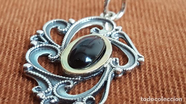Joyeria: Precioso colgante en plata, azabache y oro. Artesanía Galicia. Silver pendant. - Foto 4 - 128803483