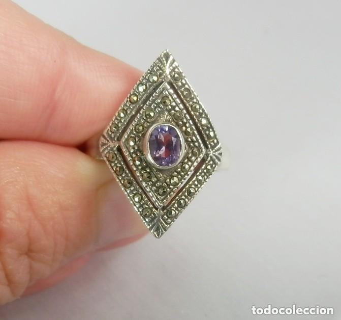 Joyeria: Precioso anillo de plata con marcasitas y amatista - Foto 2 - 128977291