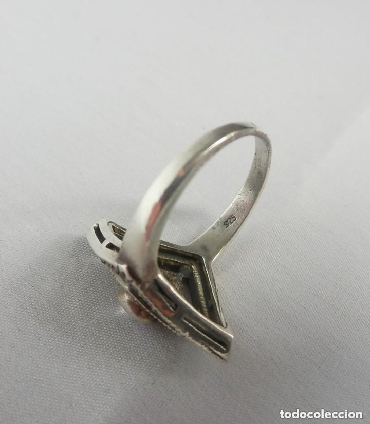 Joyeria: Precioso anillo de plata con marcasitas y amatista - Foto 3 - 128977291