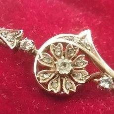 Joyeria: ANTIGUO ALFILER BROCHE DE ORO Y DIAMANTES. Lote 129008883