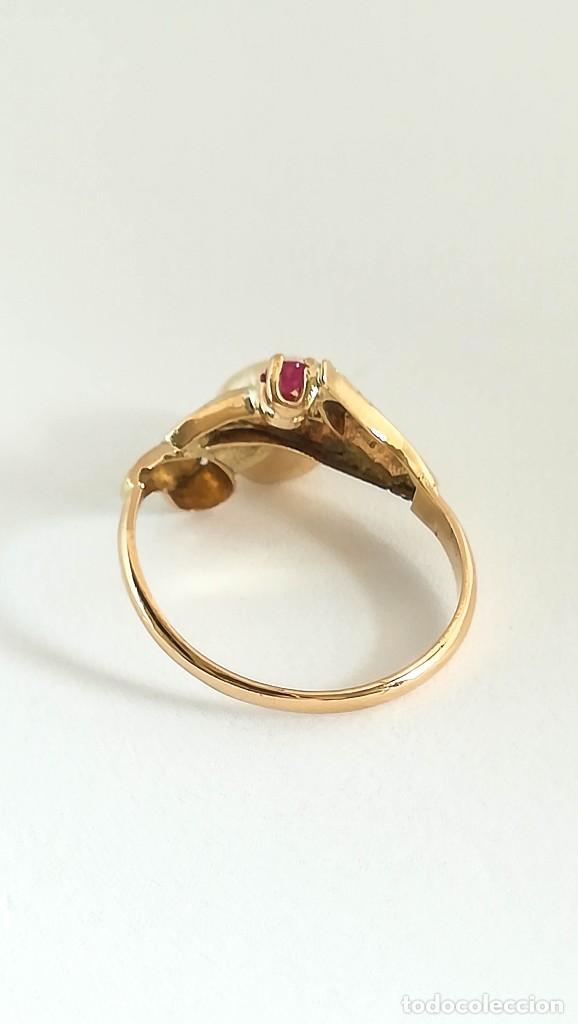 Joyeria: Anillo Vintage Oro 18k Perla barroca y Rubí natural - Foto 2 - 129014703
