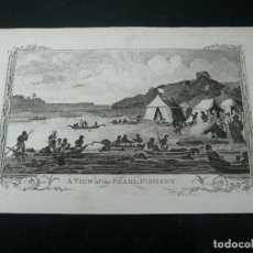 Joyeria: PESCADORES DE PERLAS - GRABADO ORIGINAL S.XVIII DE LODGE. Lote 129176383