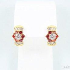 Joyeria - Pendientes en oro 14k con con rubíes y circonios tallados y engastados - 129569455
