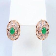 Joyeria - elegantes pendientes en oro rosa 14k con esmeralda y circonios estilo antiguo con calado - 129573735