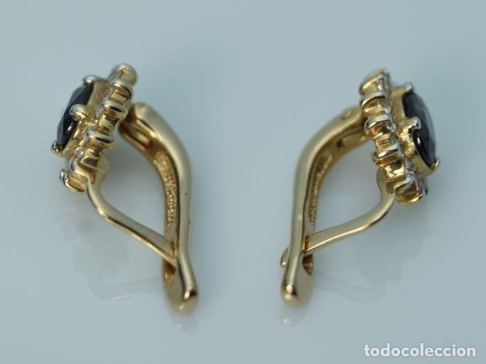 Joyeria: Pendientes de oro 14k con zafiro y topacio. Peso 3.5 g. - Foto 4 - 129585275