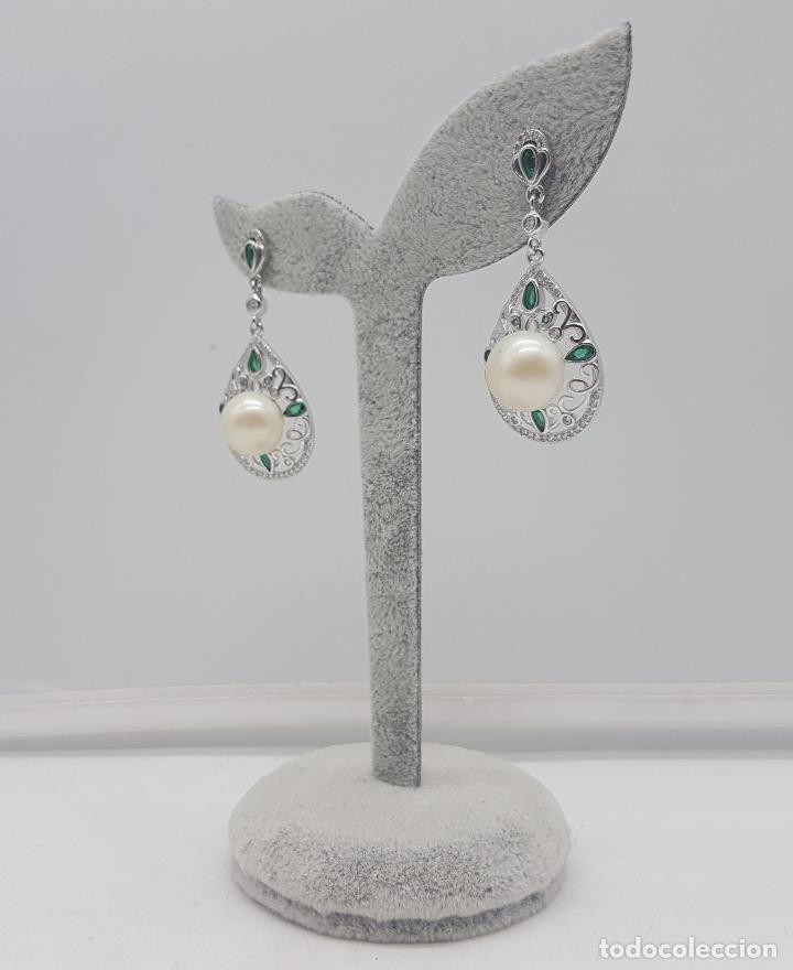 Joyeria: Pendientes de estilo rococó en plata de ley, esmeraldas talla pera y gran perla natural . - Foto 4 - 136745533