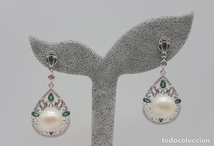 Joyeria: Pendientes de estilo rococó en plata de ley, esmeraldas talla pera y gran perla natural . - Foto 5 - 136745533