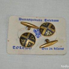 Joyeria: PAREJA DE GEMELOS - DAMASQUINADO TOLEDANO - A ESTRENAR - ORO DE 24 KT INCRUSTADO - MUY ANTIGUO - L03. Lote 130613098