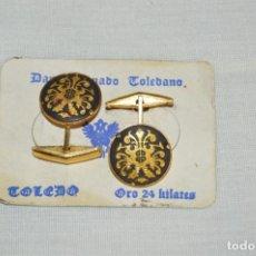 Joyeria: PAREJA DE GEMELOS - DAMASQUINADO TOLEDANO - A ESTRENAR - ORO DE 24 KT INCRUSTADO - MUY ANTIGUO - L06. Lote 130613206