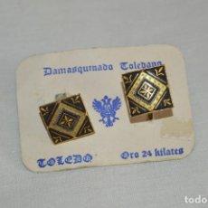 Joyeria: PAREJA DE GEMELOS - DAMASQUINADO TOLEDANO - A ESTRENAR - ORO DE 24 KT INCRUSTADO - MUY ANTIGUO - L08. Lote 130613306