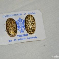 Joyeria: PAREJA DE PENDIENTES - DAMASQUINADO TOLEDANO - A ESTRENAR - ORO DE 24 KT INCRUSTADO - ATIGUOS - L09. Lote 130613382