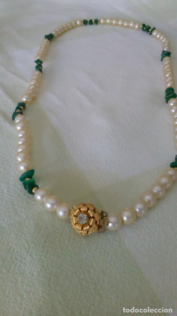 comprar online 4b592 59a1e Collar bisutería perlas-malaquita