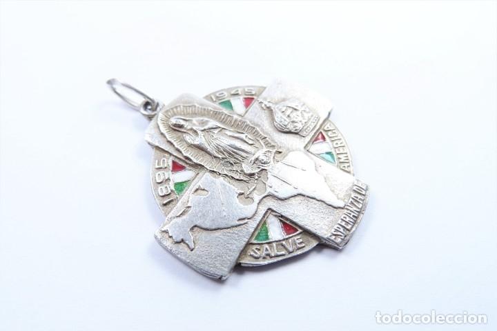 Joyeria: Medalla en plata antigua, Virgen de Guadalupe, Salve Esperanza de America 1895-1945 - Foto 2 - 49042365