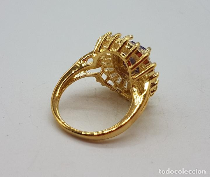 Joyeria: Bella sortija de estilo imperio chapada en oro de 18k, amatista talla radiant y circonitas trapecio - Foto 7 - 132032702