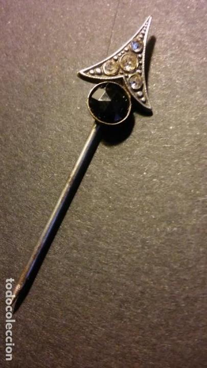 Joyeria: Aguja alfiler victoriano para corbata caballero cristal negro azabache y circonitas, antigua s XIX - Foto 3 - 132106010