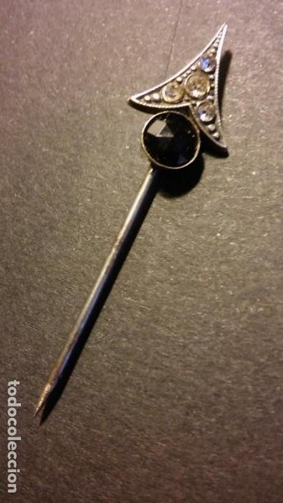 Joyeria: Aguja alfiler victoriano para corbata caballero cristal negro azabache y circonitas, antigua s XIX - Foto 5 - 132106010