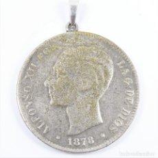 Joyeria: COLGANTE CON MONEDA EN PLATA 900, DE ALFONSO XII, 1878 5 PESETAS. Lote 49042256