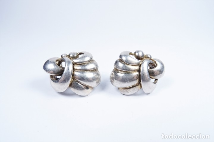 Joyeria: Antiguos pendientes en plata 925 con curiosa forma de lazo - Foto 4 - 49846762