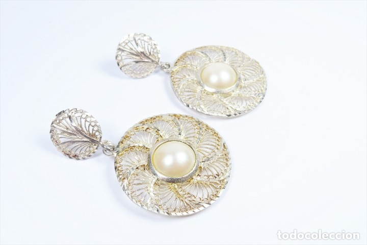 Joyeria: Antiguos pendientes de filigrana en plata 925 con perla - Foto 2 - 96112982