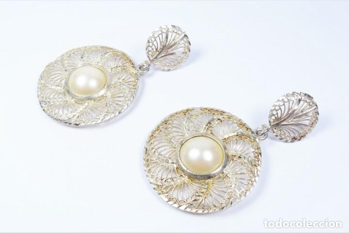 Joyeria: Antiguos pendientes de filigrana en plata 925 con perla - Foto 3 - 96112982