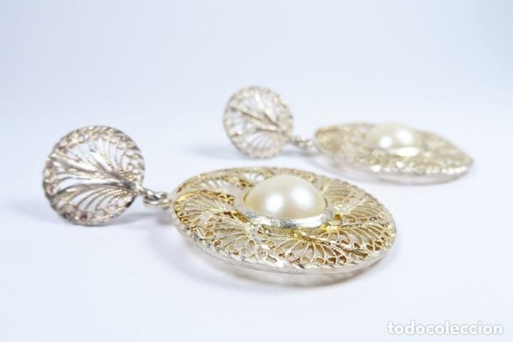 Joyeria: Antiguos pendientes de filigrana en plata 925 con perla - Foto 4 - 96112982