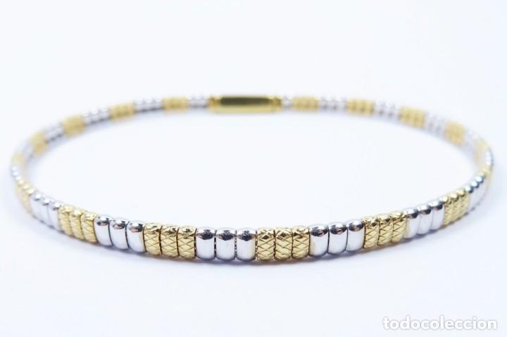 Joyeria: Elegante Pulsera semirrígida en oro de 18 quilates, combinada de oro blanco y oro amarillo - Foto 2 - 132480334