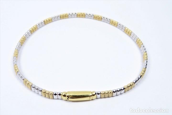 Joyeria: Elegante Pulsera semirrígida en oro de 18 quilates, combinada de oro blanco y oro amarillo - Foto 4 - 132480334
