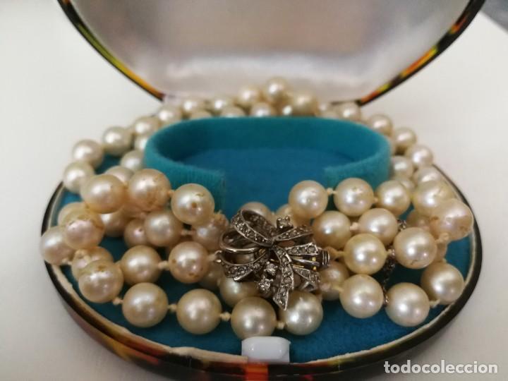 4179d21405a2 Collar de perlas con broche de oro blanco y bri - Vendido en Subasta ...