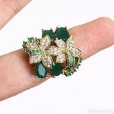 Jewelry - Esmeraldas y topacios. Anillo en plata sólida de Ley contrastada 925 y bronce. - 132820806